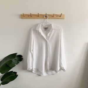 Silky white button up